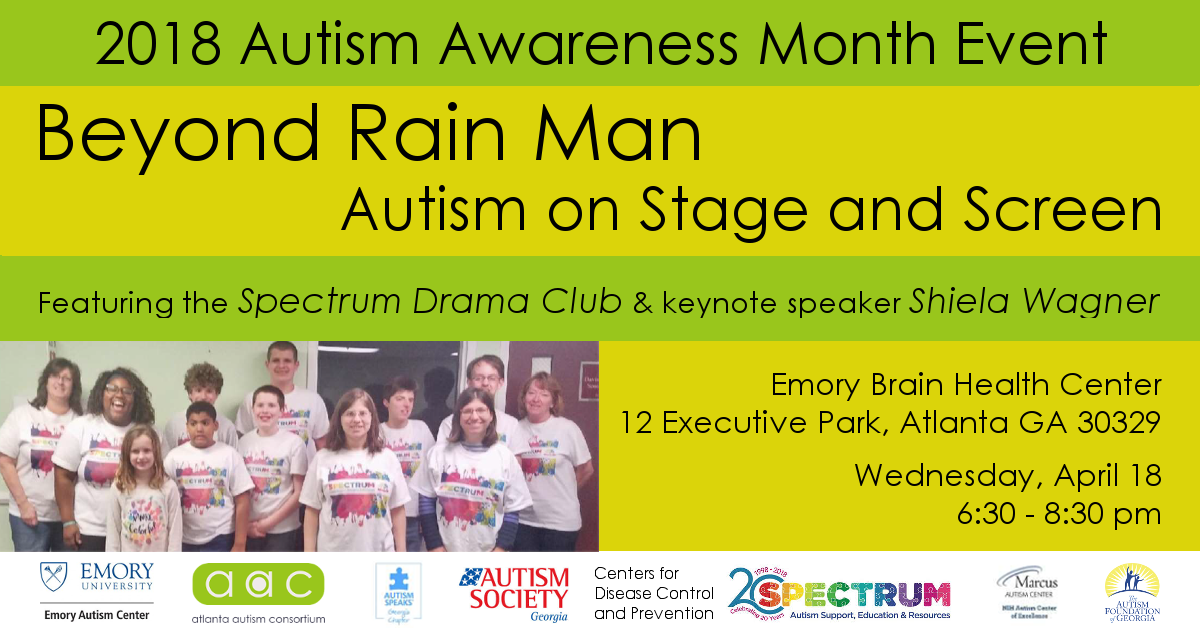 2018 Autism Awareness Month Event flyer